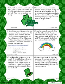 St. Patrick's Day Writing Contract ~ Six Activities