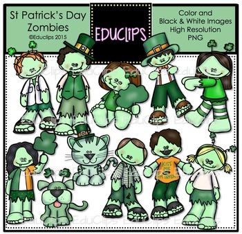 St Patrick's Day Zombies Clip Art Bundle