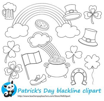 St. Patrick's Day blackline clipart digital stamp,line art
