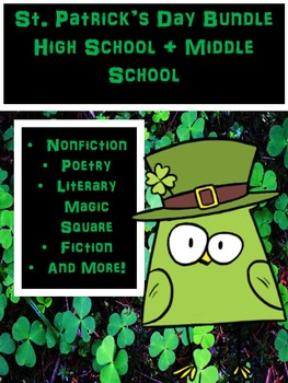 St. Patrick's Day literacy- High School or Middle School Bundle!