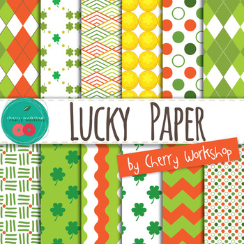 St Patrick's Digital Papers - Cute Backgrounds for St Patr