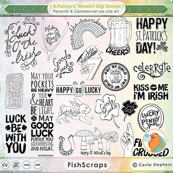 St Patrick's WordArt Digital Stamps + Word Art PS Brushes