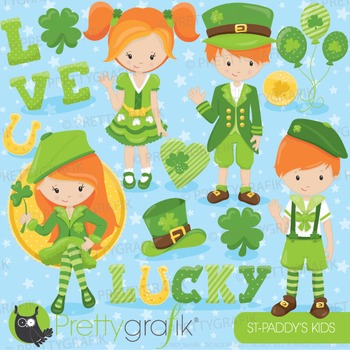 St-Patrick's kids clipart commercial use, vector graphics,
