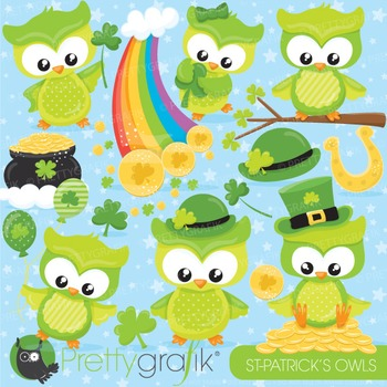 St-Patrick's owl clipart commercial use, vector graphics,