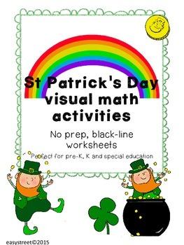 St Patrick's visual math black-line no prep worksheets