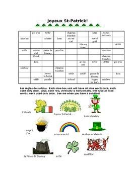 St. Patrick's wordoku French