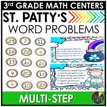 St. Patty's Multi-Step Word Problems March Monthly Math Center