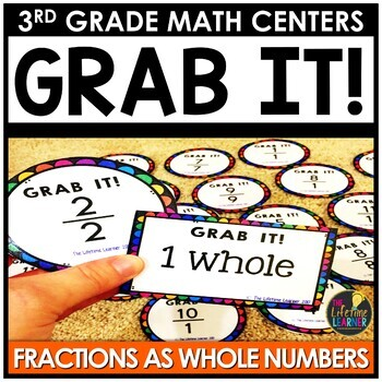 Grab It Fractions as Whole Numbers March Monthly Math Center