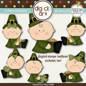 St. Patty's Day Babies 1-  Digi Clip Art/Digital Stamps -