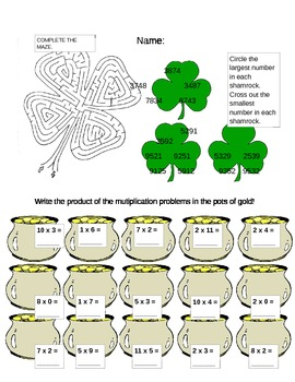 St. Patty's Day Fun Math Worksheet