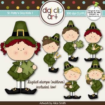 St. Patty's Day Kids 1-  Digi Clip Art/Digital Stamps - CU