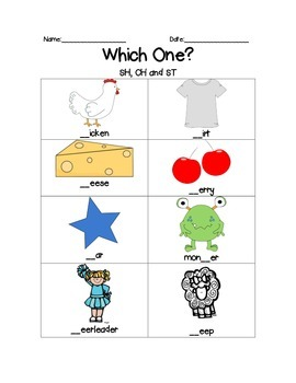 St, Sh and Ch Worksheet