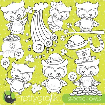 St-patrick's owl stamps commercial use, vector graphics, i