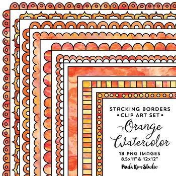 Stacking Borders - Orange Watercolor