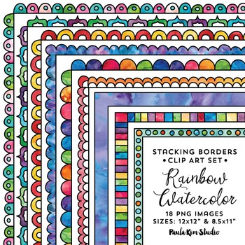 Stacking Borders Rainbow Watercolor