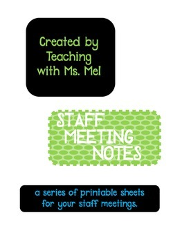 Staff Meeting Notes