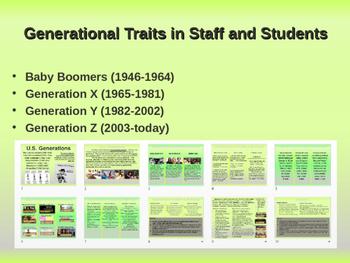 Staff/Student Generational Traits: Boomers, GenX, Millenia