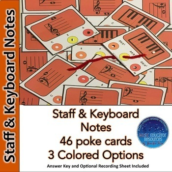 Staff and Keyboard Notes Poke Cards