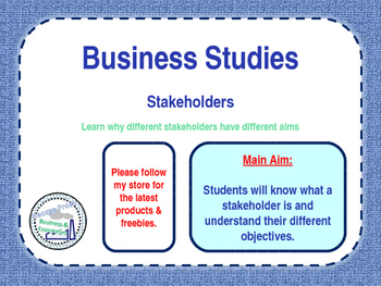 Stakeholders & Business Objectives - Business Studies - Wo