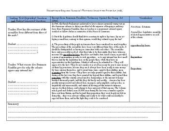 Stamp Act Close Reading