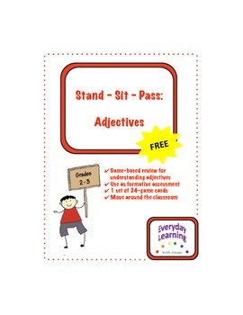 Stand Sit Pass Adjective Review Game Freebie