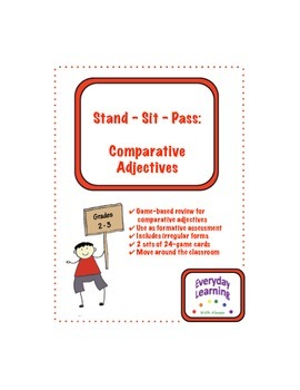 Stand Sit Pass Comparative Adjective Review Game