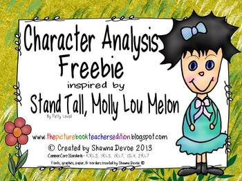 Character Analysis Freebie inspired by Stand Tall, Molly L