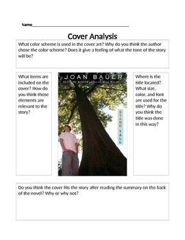 Stand Tall by Joan Bauer- Cover Prediction Sheet