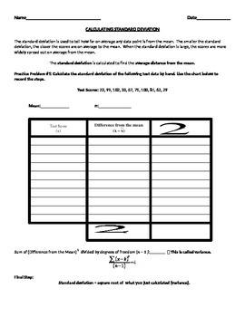 Standard Deviation Practice worksheet