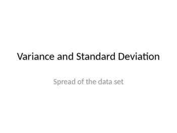 Standard Deviation and Variance Notes