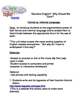 Standard English?  Why Should We Care?  Formal/Informal La