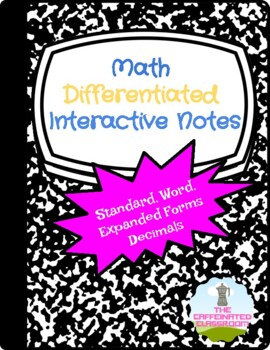 Standard, Expanded, Word Form of Decimals Differentiated I