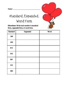 Standard, Expanded, Word form math worksheet (Valentine's Day)