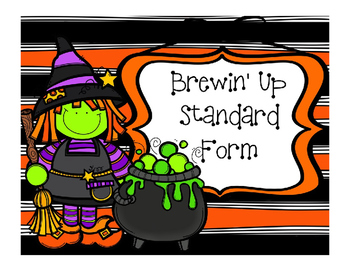 Halloween Math Standard Form Task Card - Brewin' Up Standa