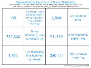 Standard Form and Word Form: A Memory Match Game
