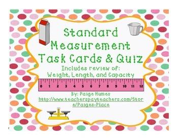 Standard Measurement Task Cards & Assessment