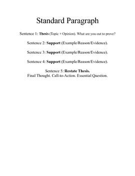 Standard Paragraph Format