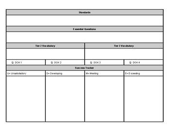 Standards-Based Instruction Graphic Organizer; Learning Pr
