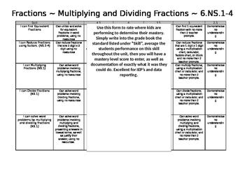 Standards based grading Fractions