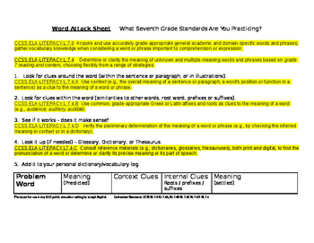 Standards in the Word Attack Sheet (7)