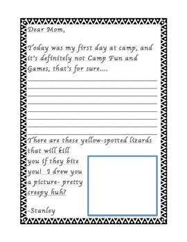 Stanley Yelnats Letter-Writing Template (Louis Sachar's Ho
