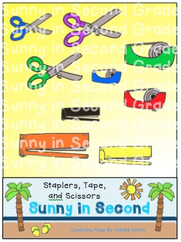 Staplers, Tape, and Scissors Clip Art
