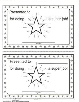 Star Award certificate