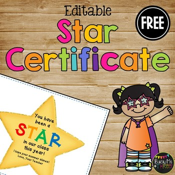 Star Certificate for End of the Year, Award for Students {