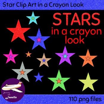 Star Clip Art in a Crayon Look