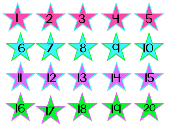 Star Numbers & Monday - Friday bright labels