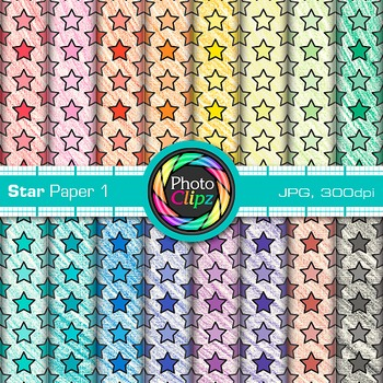 Star Paper Clip Art 1 - Scrapbook Paper, Digital Backgroun