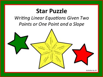 Star Puzzle: Writing Linear Equations Given Two Points or