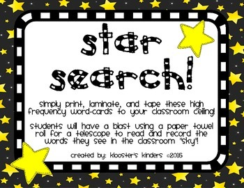 High Frequency Sight Word Literacy Center - Star Search
