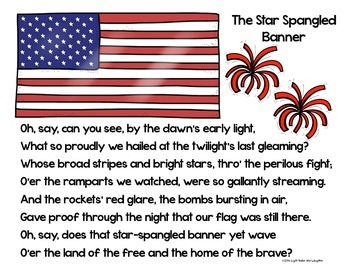 Star Spangled Banner FREE Poster and Coloring Page/Cloze Activity